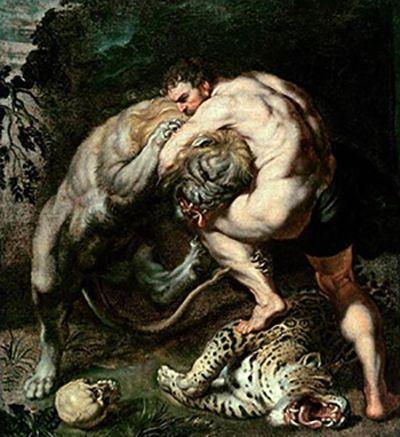 ルーベンス「ヘラクレスとネメアの獅子」1639年以降・油彩